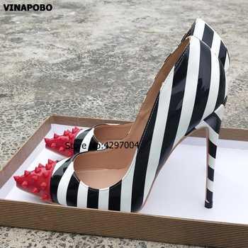 2019 Vinapobo White Black Mix Color Rivet Pumps patent leather Stiletos High Heel Design Women Party Wedding Shoes Shallow Pumps - DISCOUNT ITEM  0% OFF All Category