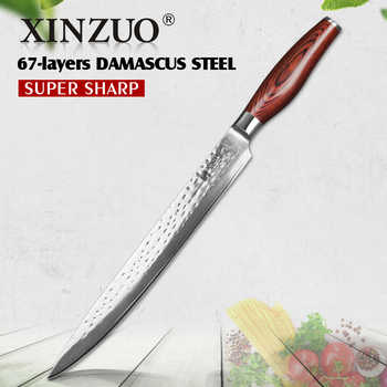 XINZUO 10'' Cleaver Knives 10Cr15CoMoV High Carbon Damascus Steel 2018 Excellent Kitchen Sushi Sashimi Knife Pakka Wood Handle - DISCOUNT ITEM  40% OFF All Category