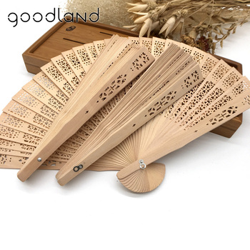 Wholesale Free Shipping 30pcs 20cm Asian Pocket Folding Fan Wooden Carved Hollow Out Hand Folding Fans Wedding Favors And Gifts
