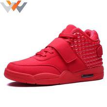2017 Новая Мода Осень Зима Мужчины Повседневная Обувь Любовник Красный замша Кожа Мужчины Высокого Топ Повседневная Обувь Дышащая Bootss Красный Botas
