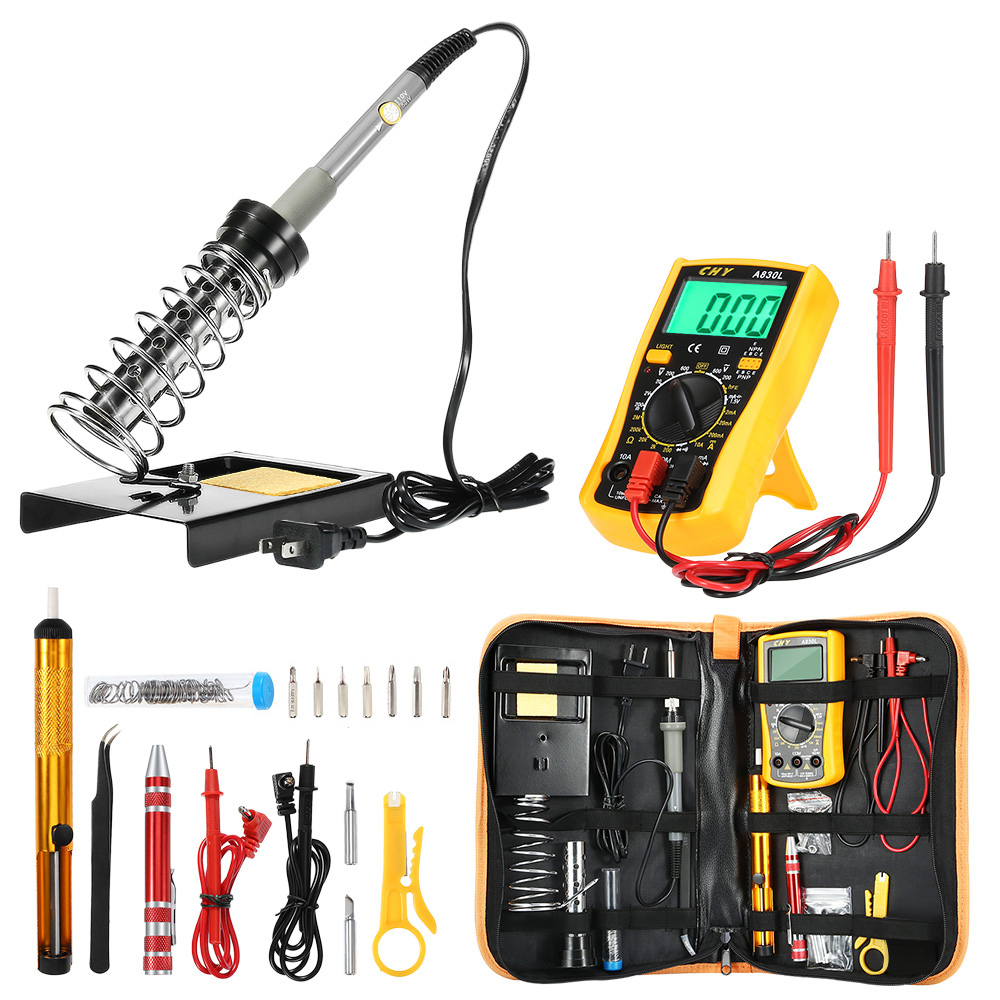 25Pcs in 1 D60 Soldering Iron Kit 220V 60W Welding Solder Station with Adjustable Temperature Welding Repair Tool adjustable temperature soldering iron 60w switch welding station tool kit with soldering tips