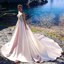 Blush Pink BlingBling Beadings Sweetheart Satin Train Pleat Bridal Gown Wedding Dresses Vestidos de Noivas Custom