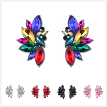 Multicolor Alloy Color Diamond Wings Stud Earrings Holiday Gift Fashion Woman Accessories Crystal Acrylic Rhinestone