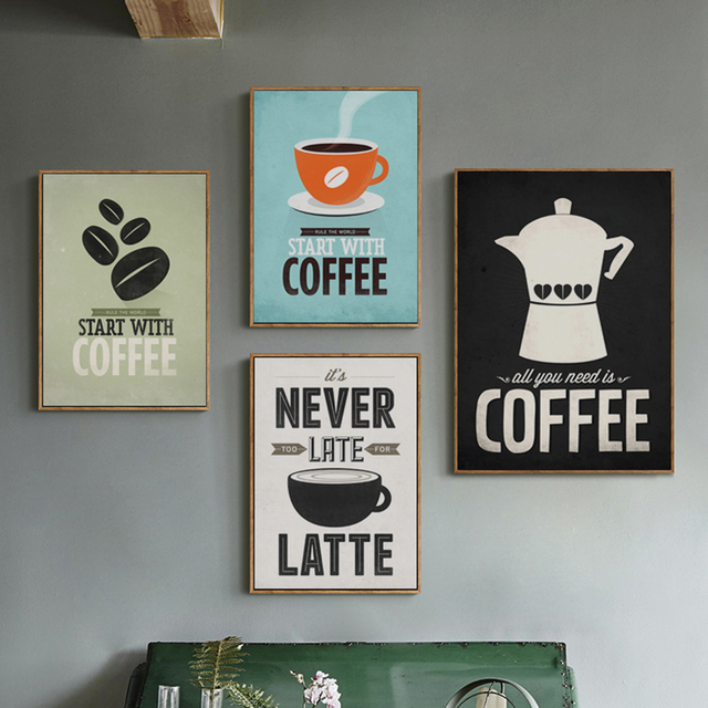 Coffee Canvas Painting Print Poster Cafe Modern Art