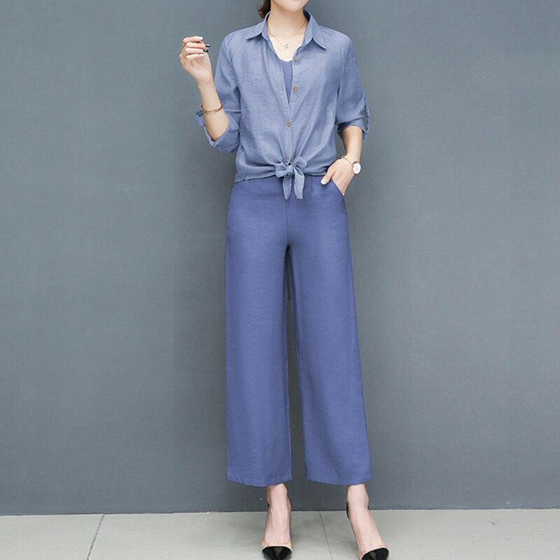2019 Spring summer women sets office lady elegant chiffon blouse shirts+female wide leg pants trousers pantalon two piece sets 4