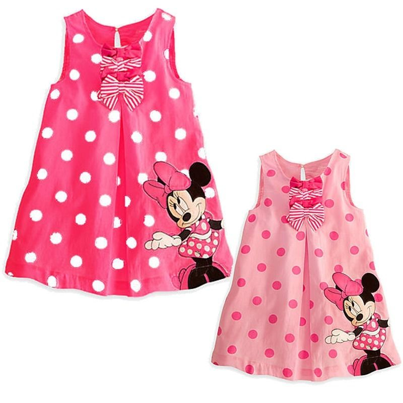 Minnie Mouse Sleeveless Casual Party Cotton Shirt Dress 2017 Pink Dot Summer dress Cute Baby Kids Girls clothes pink floral towels