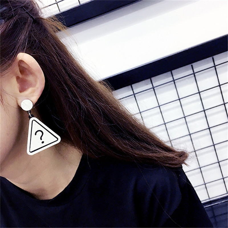 Novelty Acrylic Triangle Drop Earring Exclamation Mark Question Mark Pattern Dangle Earring Personality Statement Women Jewelry