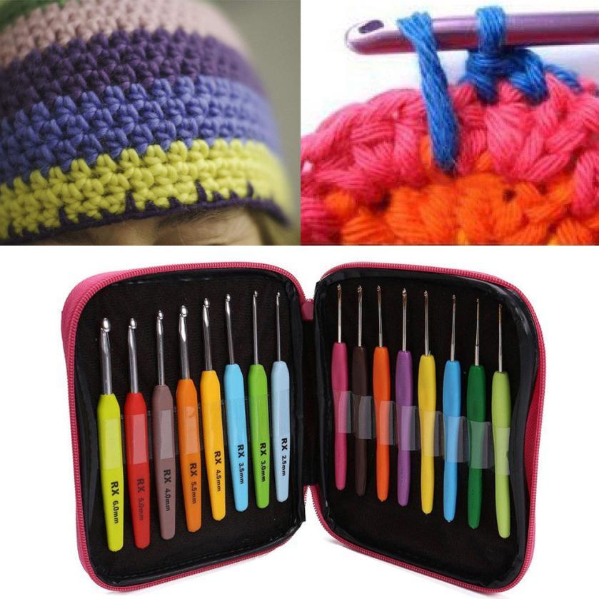 knitting needles 16Pcs Multi Colour crochet hook set Yarn Knitting Needles Set Kit with crochet hook sets aluminum Case Tool
