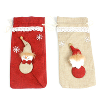 Christmas decoration Western restaurant red wine linen champagne bottle set