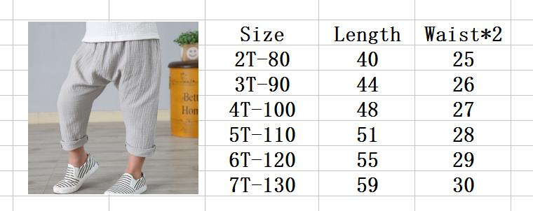 New 2-7y 18 Summer Solid Color Linen Pleated Children Ankle-length Pants for Baby Boys Pants Harem Pants for Kids Child 1