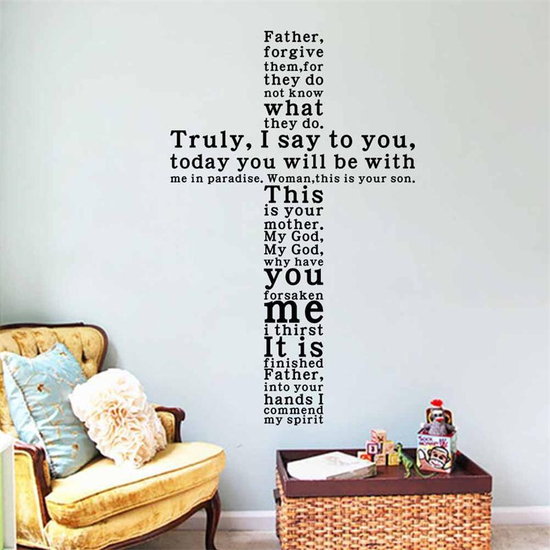 New Diy Cross Christian Characters Vinyl Wall Stickers Home Decor Wedding Decoration 3d