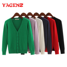 YAGENZ Sweater Women Short Cardigan Coat Ladies Plus Size Female Knitted Sweater Long Sleeve Crochet Casual Cardigans Woman Tops(China)