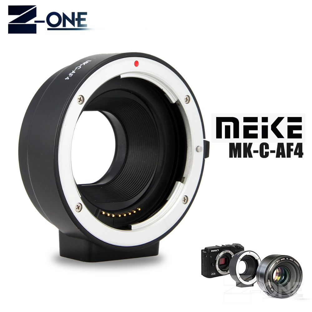 Meike MK-C-AF4 Electronic Auto Focus Adapter for Canon EF EF-S lens to EOS M M1 M2 M3 M5 M6 M10 M50 M100 EF-M mount meke meike mk s af4 auto focus mount lens adapter ring for sony micro single camera to canon ef ef s camera