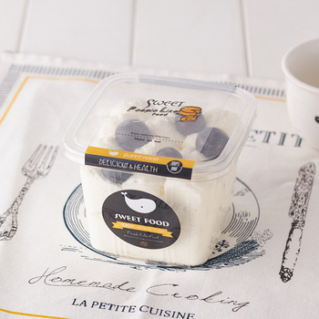 Disposable Box Plastic Bowl Square Box Yogurt Bowl Food Container Baking Tool Takeout Bowl Cake Display Box Pudding Wrapper50pcs