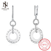 INALIS Jewelry Accessories Round Circline Ceramic 925 Sterling Silver Dangle Drop Earrings Romantic Gift For Woman