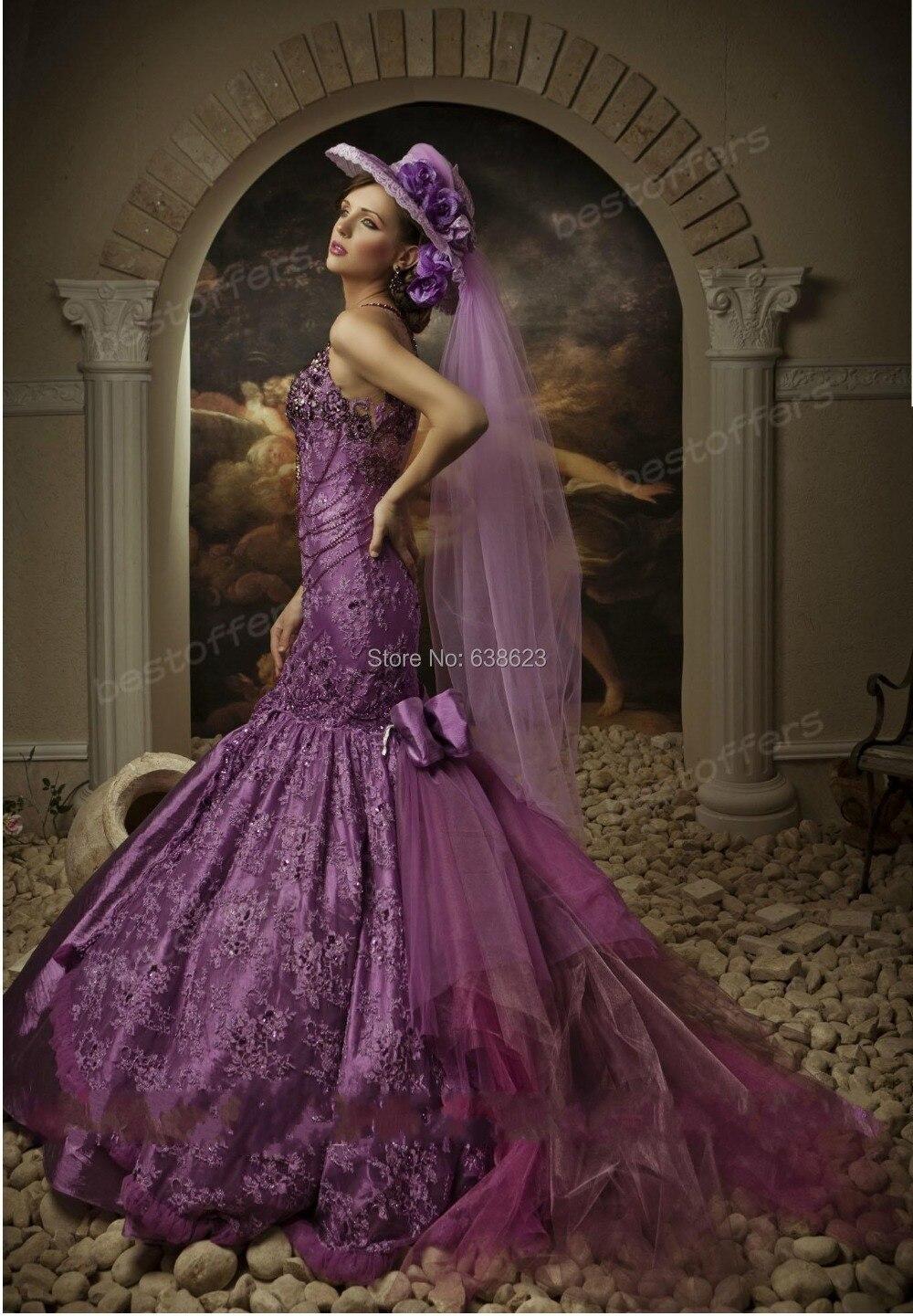 Daw2198 sirena púrpura vestidos novia con rebordear cristales ...