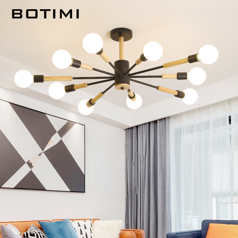 BOTIMI Designer LED Chandelier For Living Room White Lustre Bedroom Lamps Black Lustres Wooden Hanging Lights Dining Lighitng|Chandeliers| |  - title=