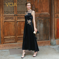 VOA Silk Black Women Vintage Maxi Dresses Elegant A Line Solid Sleeveless Embroidery Chiffon O Neck Vestidos Female ALX02901