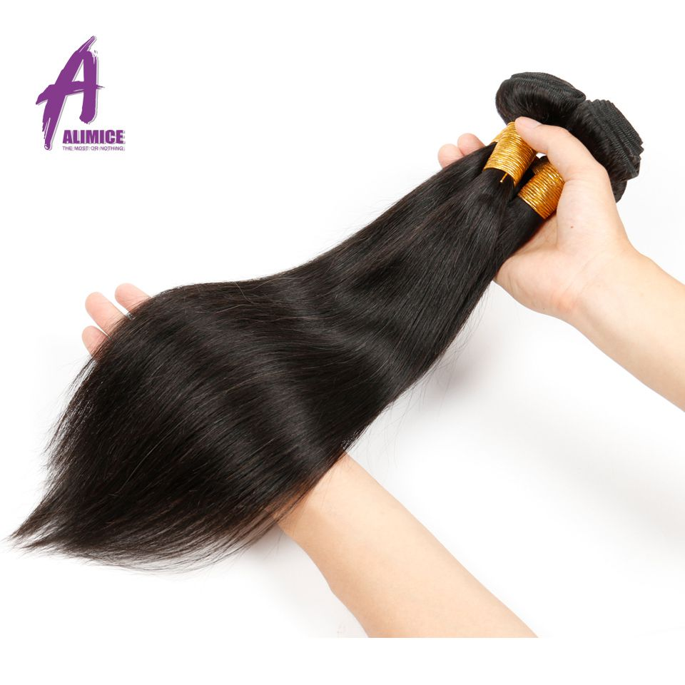 Alimice Hair Straight Brasilian Hair Human Hair Weave Bundles - Menneskelig hår (for svart)