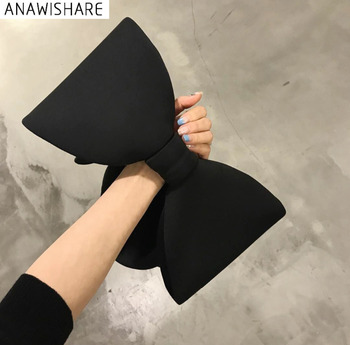 ANAWISHARE Designer Women Handbags Bow Day Clutches Bag Ladies Evening Party Clutches Black Handbag Shoulder Bag Bolsas Feminina