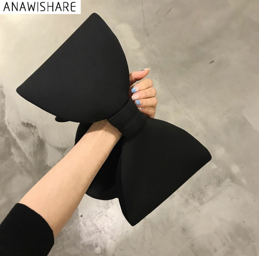 ANAWISHARE Designer Women Handbags Bow Day Clutches Bag Ladies Evening Party Clutches Black Handbag Shoulder Bag Bolsas Feminina