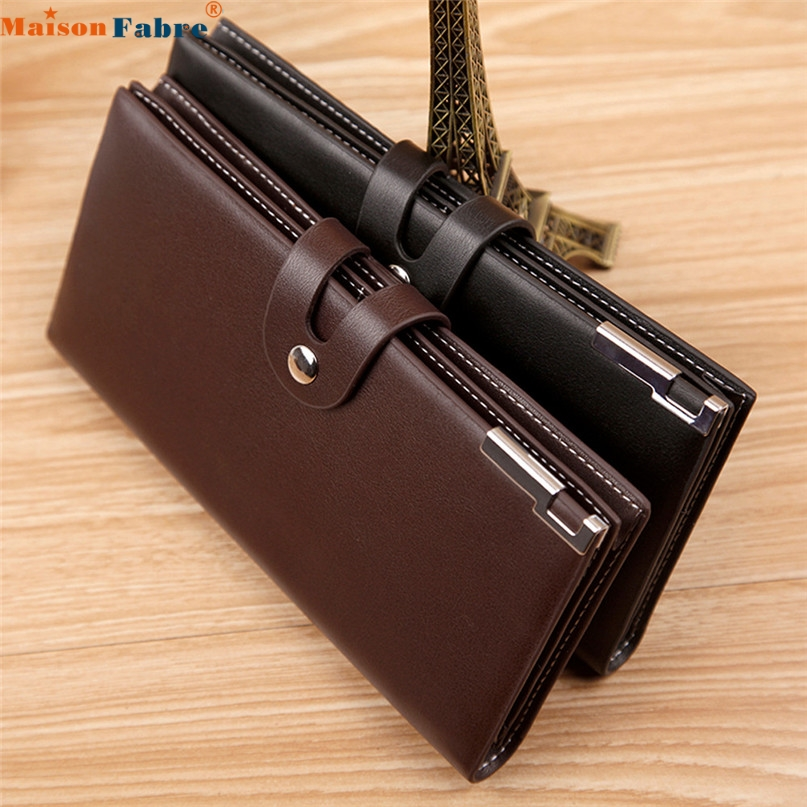 Maison Fabre Jasmine Men Long Section Button Bifold Business Leather Wallet Card Coin Wallet Purse Dec16