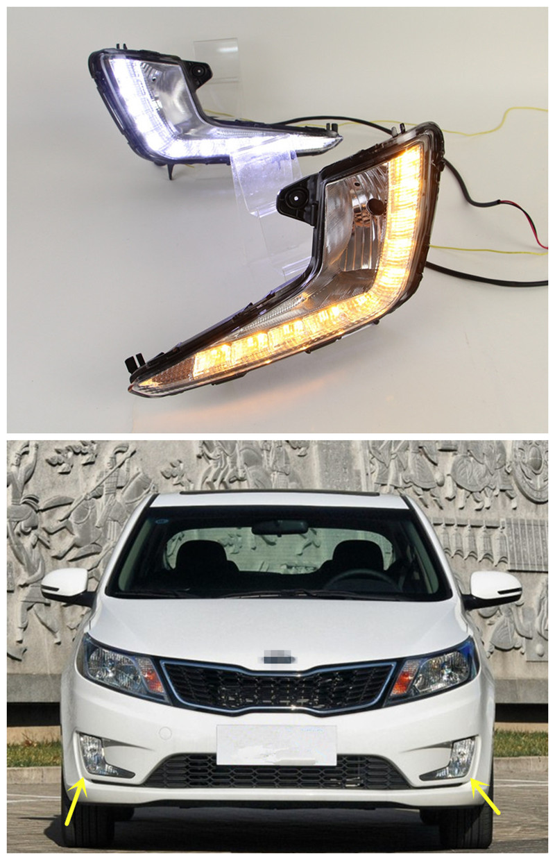 цена на LED DRL Kit For KIA Rio K2 LED Daytime Running Light Auto LED Fog Lamps 2011 2012 2013 2014