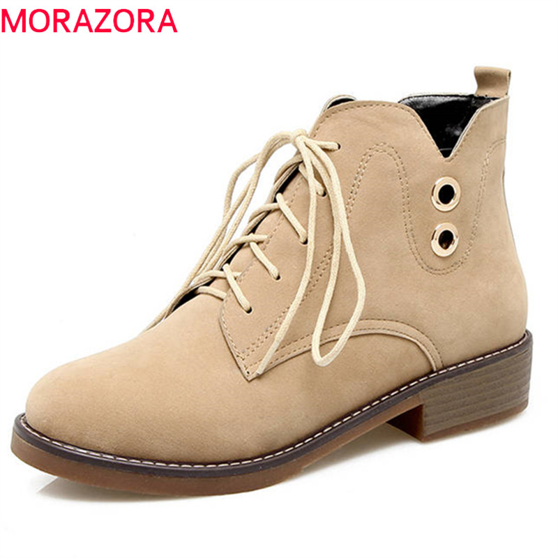MORAZORA 2018 new arrival flock round toe autumn winter boots lace up fashion punk shoes med heels shoes ankle boots for womenMORAZORA 2018 new arrival flock round toe autumn winter boots lace up fashion punk shoes med heels shoes ankle boots for women