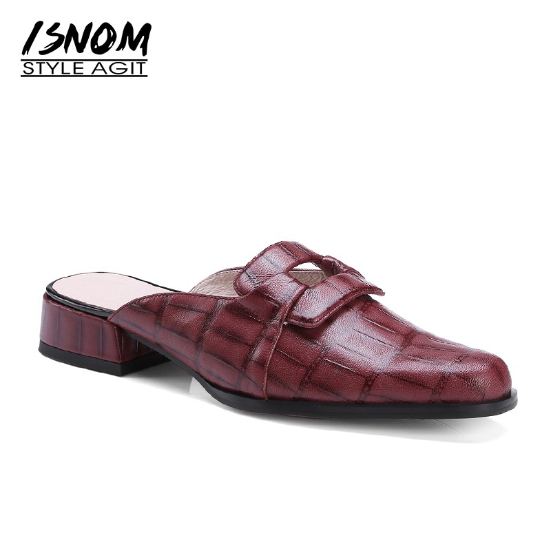 ISNOM Cow Leather Thick Med Heels Women Slippers Printing Square Toe Slides Footwear Casual Summer Fashion Ladies Mules Shoes centurion smart 1 smart 2 smart 4 replacement remote control
