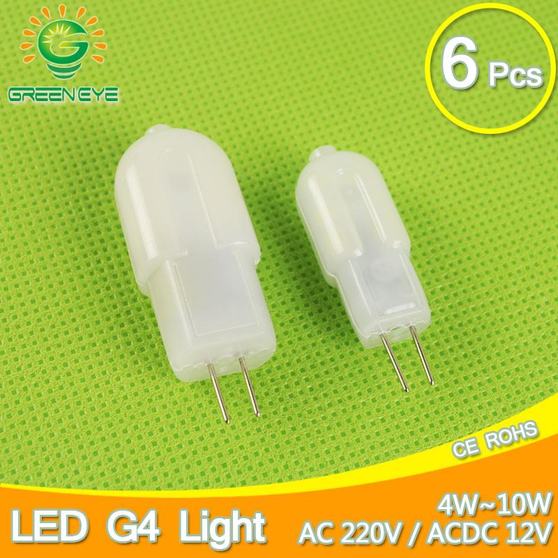 6PCS Dimmable 12V/220V Mini LED G4 COB LED Bulb Lamp 4W 6W DC/AC 360 Angle Chandelier Replace Halogen Lampada Ampoule Bombilla