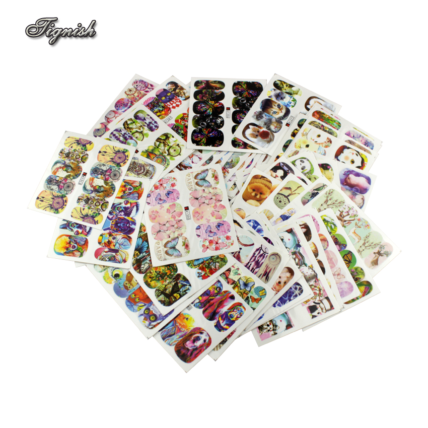 Tignish 50 Sheets/Lot Mixed Animal Water Transfer Nail Stickers Decals Art Tips Decoration Manicure Stickers Ongles Tools стоимость
