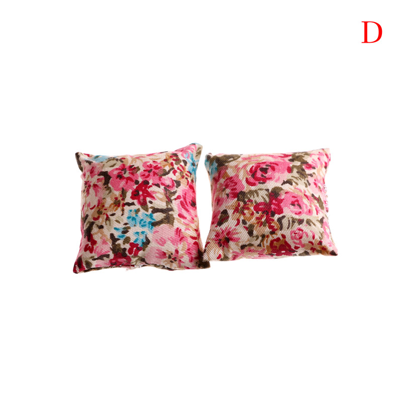1PAIR Flower Pillow Cushions For Sofa Couch Bed 1//12 Dollhouse Miniature TEES