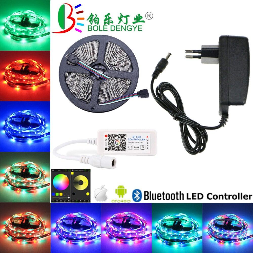 HTB1aXhtKXGWBuNjy0Fbq6z4sXXa5 5M WiFi Bluetooth LED Strip DC 12V SMD 5050 Non waterproof Flexible RGB Tape Ribbon Light Works With Amazon Alexa Google Assist