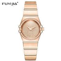 Новый Розовое золото кварцевые женские часы Сталь браслет Водонепроницаемый столешницы бренд класса люкс Relogio Feminino