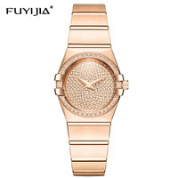 New Rose Gold Watches Woman Quartz Watch Ladies Dress Watch Steel Bracelet Waterproof Table Top Brand Luxury Relogio Feminino