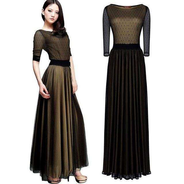 Maxi dress 3 4 sleeve formal dresses