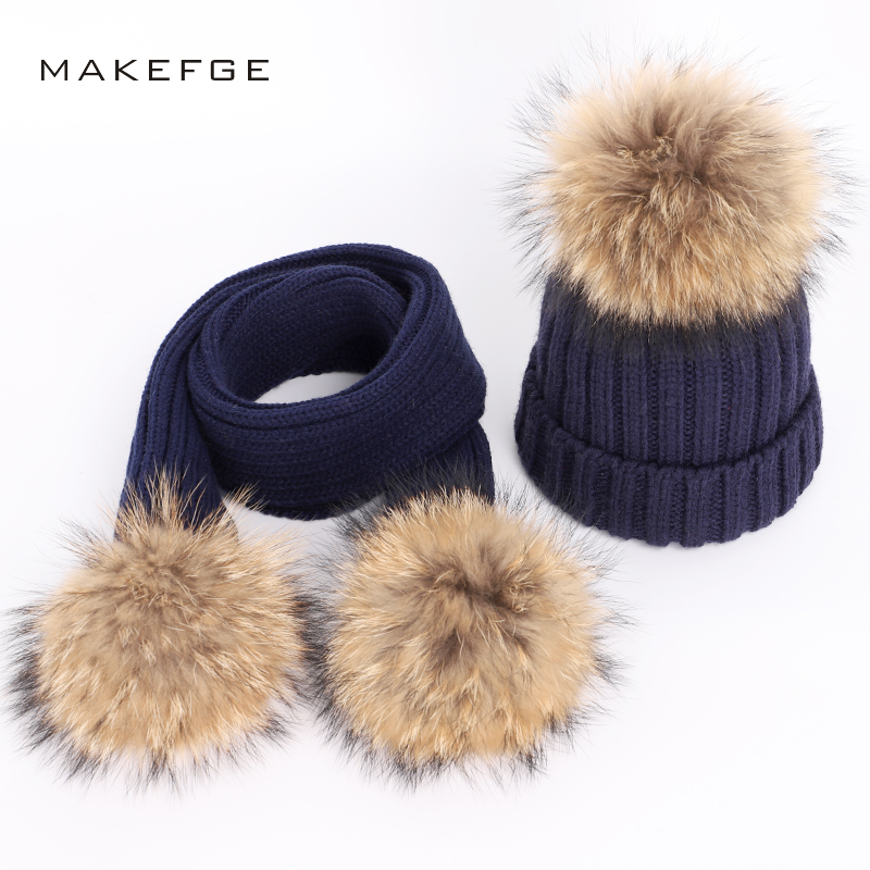 New Fashion Children's Knit Beanie Hat Scarf 2 Pieces Set Winter Warm Boy Girl Raccoon Fur Pom poms Soft Cap Scarves Kids Baby