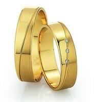 사용자 노란색 골드 도금 건강 titanium 패션 보석 웨딩 밴드 반지 세트 도매