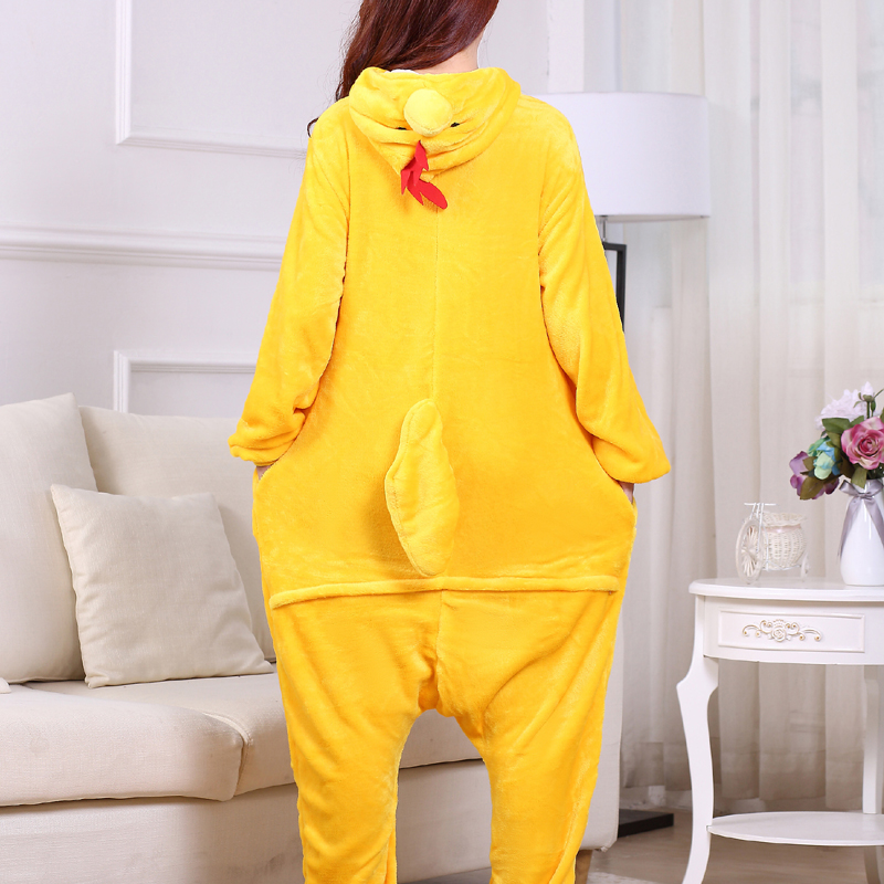 Yellow Chick Kigurumi Onesie For Adults One-Piece Flannel Animal Pajamas For Halloween Jumpsuit Cosplay Party Costume Sleepwear (3)