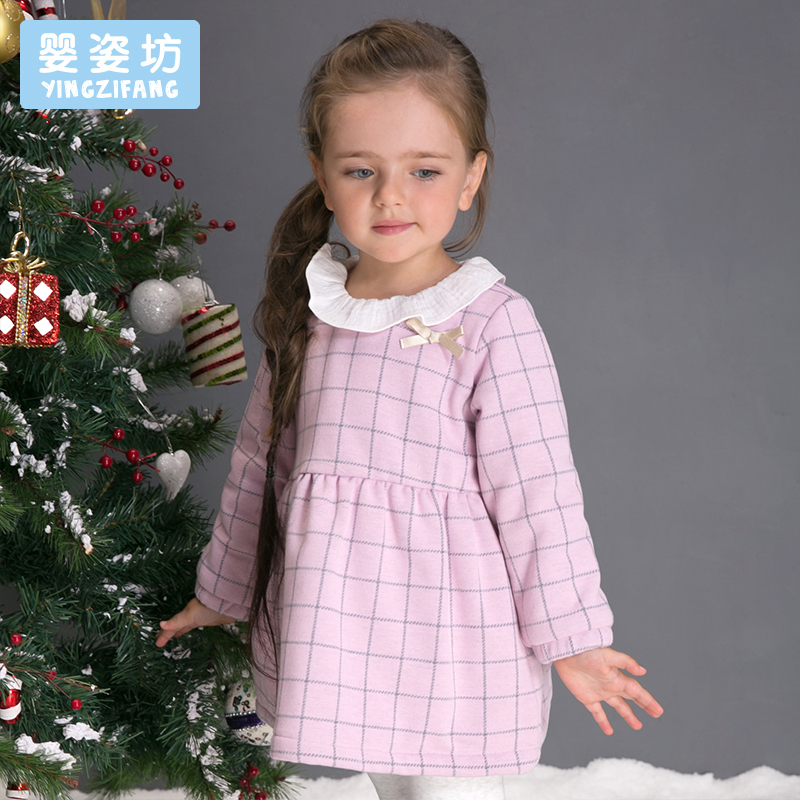 Casual Winter Girls Dress Long Sleeves O-Neck Plaid Cotton Dress yellow hollow design crew neck flared sleeves dress