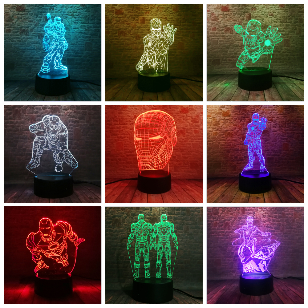 10 Versions 3D LED Iron Man Bulbing Night Lights Illusion Colorful Gradient Bedroom Desk Lamp Boys Xmas Festival Birthday Gifts