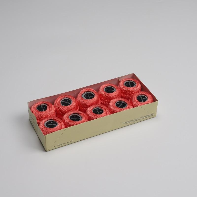 Размер 8 жемчужная хлопковая нить для вышивки крестиком 43 ярдов(5 грамм) на шарик Двойной Мерсеризованный длинный штапельный хлопок 10 шариков в цвет - Цвет: 988