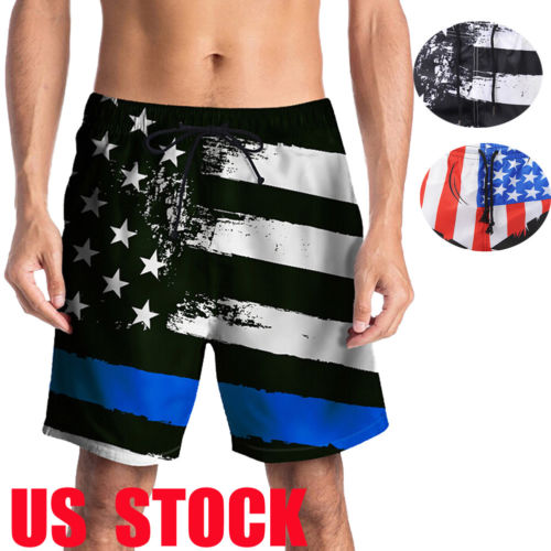 NEW CASUAL MEN'S American FLAG TRUNK   BOARD     SHORTS   Black & White OLD GLORY