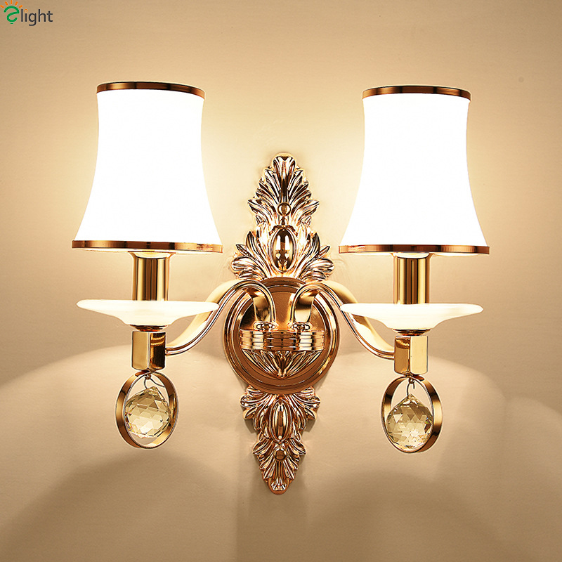 Modern Gold Metal Led Wall Lamp Lustre Crystal Bedroom Led Wall Lights Fixtures Marble Foyer Led Wall Light Corridor Wall Sconce simple led wall lamp modern home lighting bedroom berth crystal wall light corridor crystal wall sconce contains led bulb