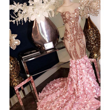 Gold Pink Long Mermaid Prom Dresses Sweep Evening Dress