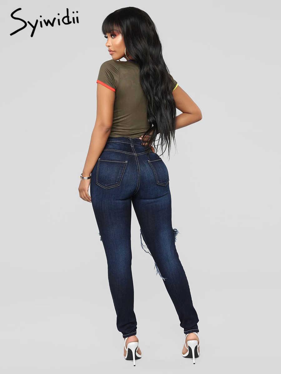 Винтажные женские узкие джинсы узкие брюки деним полной длины брюки плюс размер рваные джинсы для женщин пустое отверстие уличный стиль