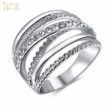 BOAKO AAA Cubic Zirconia Ring Wide Cross Rings For Women Jewelry Multilayer Gold Silver Color Double X Crystal anillos
