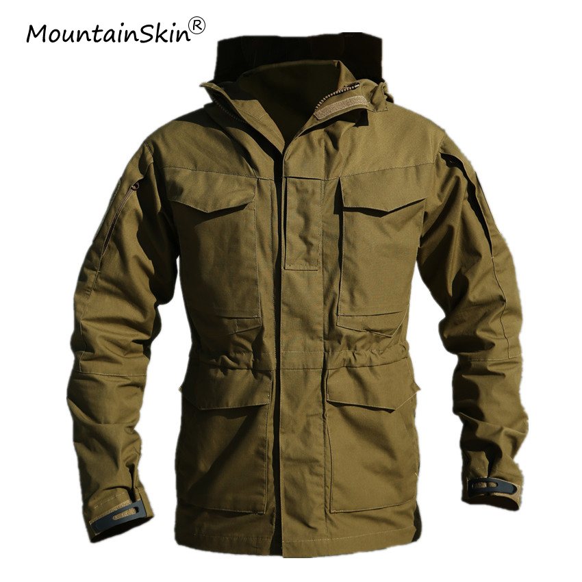 Mountainskin Men's Military Tactical Windbreaker Fashion Hooded Lurker Coats Army Breathable Multi-Pocket Brand Jacket LA642