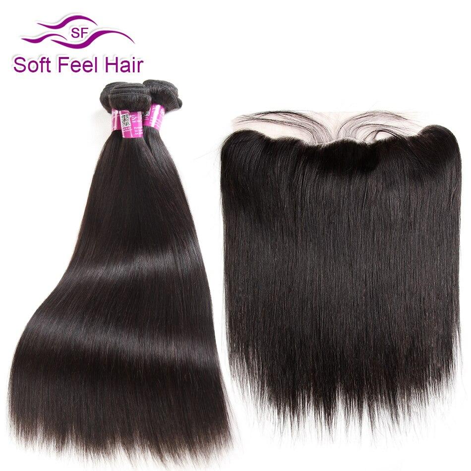 Soft Feel Hair Remy Peruvian Straight Hair Bundles With Frontal Closure Human Hair Ear To Ear