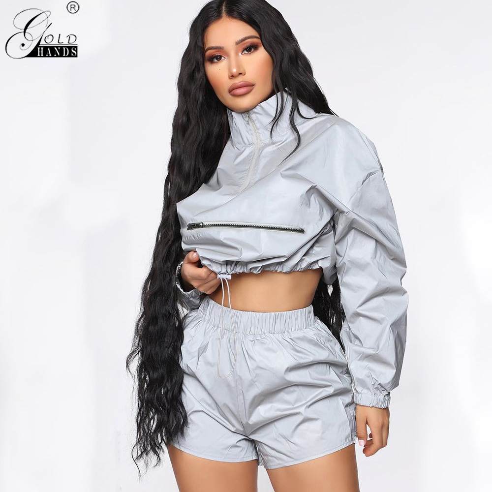 Gold Hands Reflective Jacket Women Elastic Waist Strap Short Waterproof Windbreaker Coat Women Casual Jackets Hip Hop Feminina